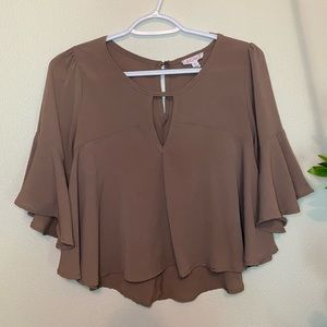 Light brown 3/4 sleeve shirt